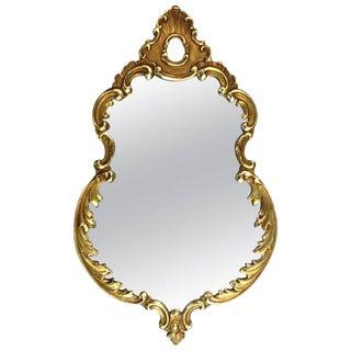 1940s Vintage Italian Hand Carved Gold Leaf Mirror For Sale