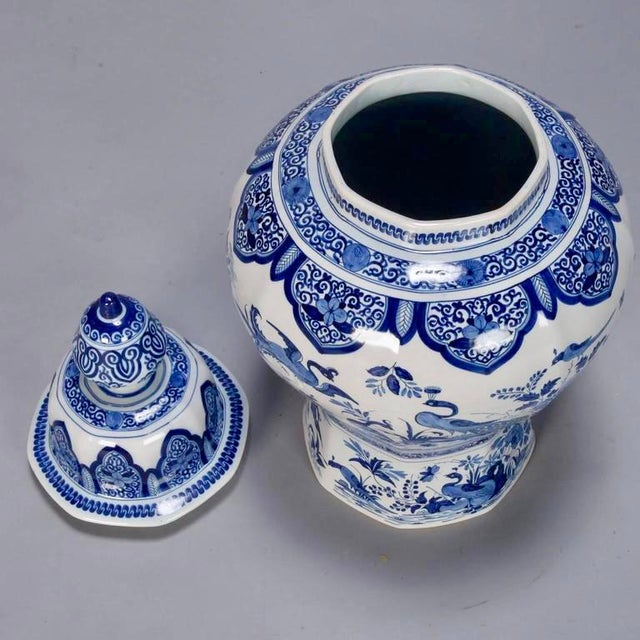 Blue Large Blue and White Chinese Ginger Jar or Dutch Vase with Lid For Sale - Image 8 of 9