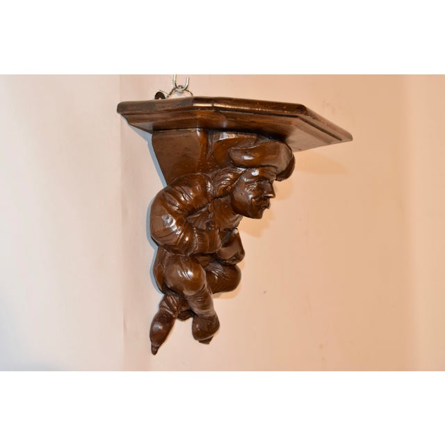 Rustic 19th C Hand Carved Bracket Shelf For Sale - Image 3 of 10