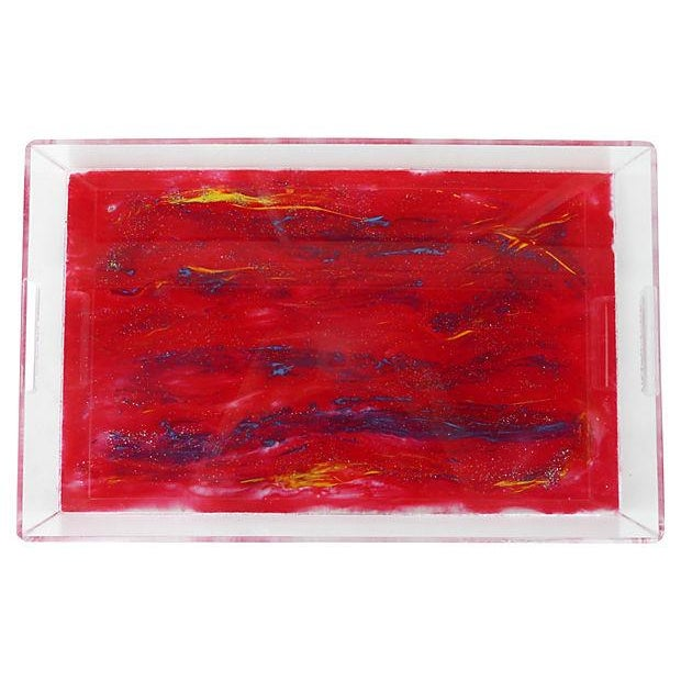 Lucite Tray With Abstract Painted Bottom - Image 3 of 4