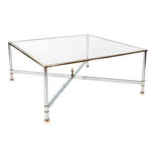 Mid Century Large Chrome and Brass Coffee Table For Sale