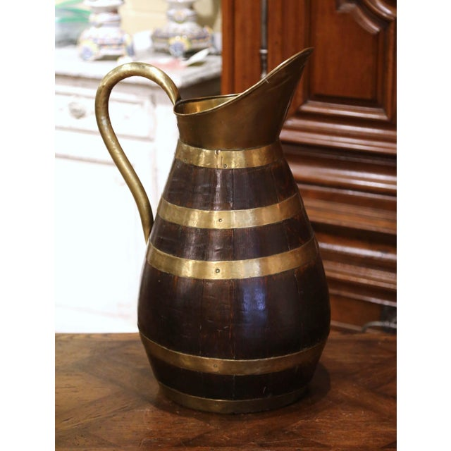 Late 19th Century 19th Century French Oak and Brass Banded Cider Pitcher Jug From Normandy For Sale - Image 5 of 11