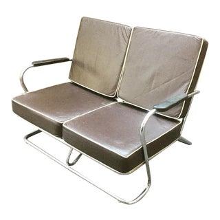 1930's Vintage Art Deco Chrome Sofa For Sale