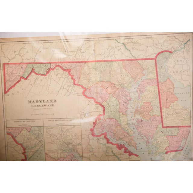 """:: From Cram's Unrivaled Atlas of the World 1907 Edition, a map of Maryland that measures 23.5"""" x 14.5"""". Page Numbers of..."""