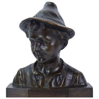 Early 20th Century Antique Julius Schmidt-Felling Bronze Bust of Boy in Tyrolean Hat Sculpture For Sale