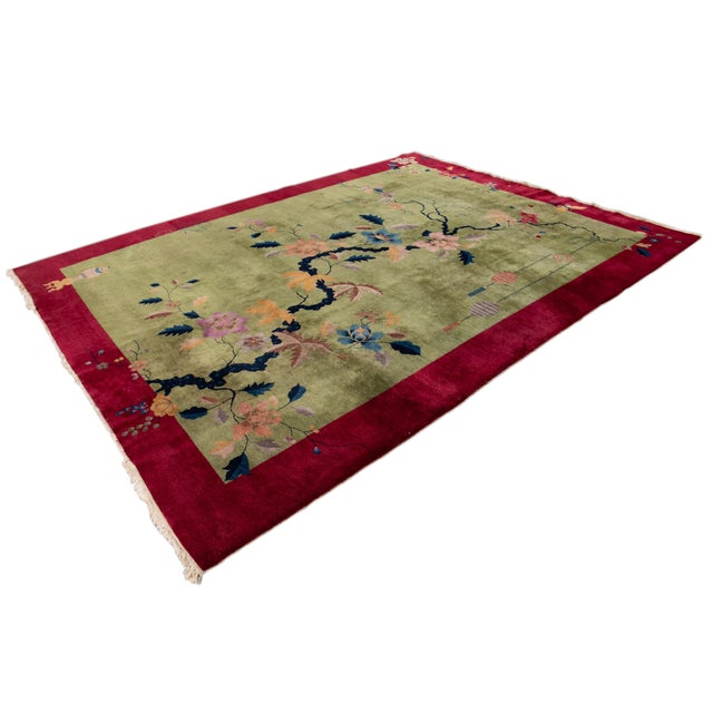 Beautiful Antique Chinese Art Deco Rug, hand-knotted wool with a green field, red border in a classic Chinese floral...