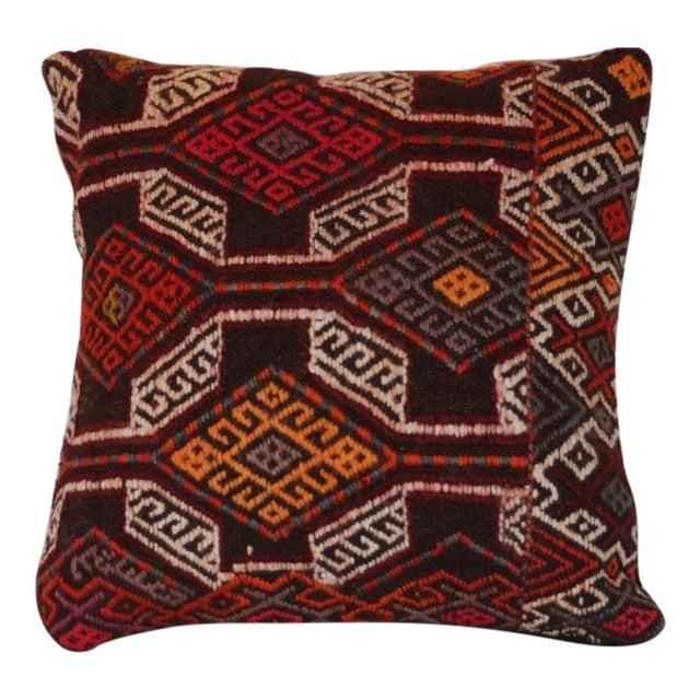 Vintage Handmade Boho Chic Wool Kilim Pillow For Sale
