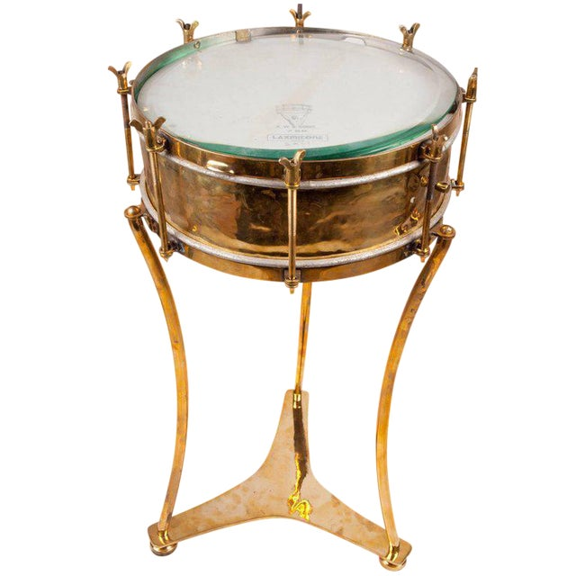 Image of Solid Brass Military or Marching Band Snare Drum Converted to Table, Early 1900s