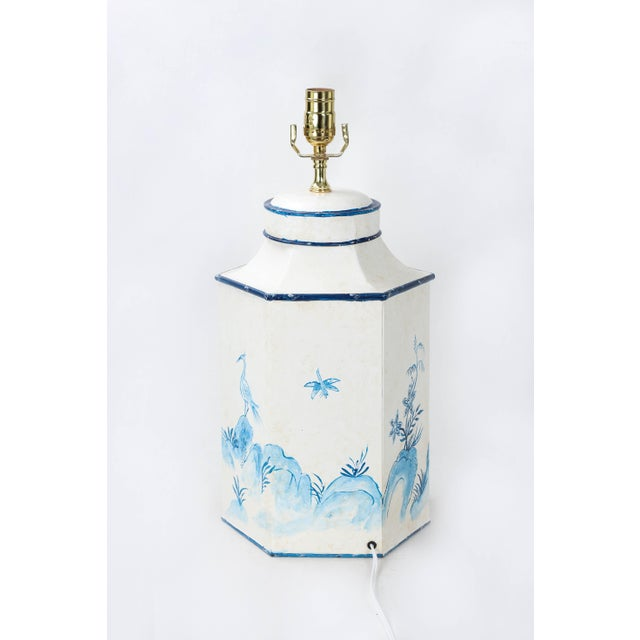 """Early 20th Century Vintage English Export Chinoiserie Blue & White Tole Hexagon Tea Caddy Lamp """"#2"""" For Sale - Image 5 of 7"""