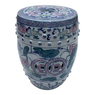 1980s Chinese Blue Lily Pads and Dragonflies Patterned Drum Shaped Ceramic Garden Stool For Sale