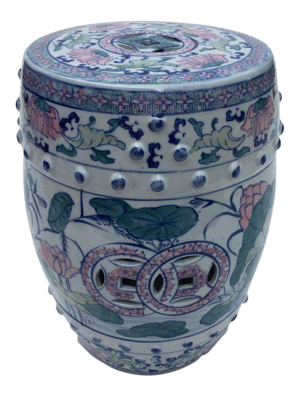 Beautiful 1980s Chinese Blue Lily Pads And Dragonflies Patterned Drum Shaped Ceramic Garden  Stool