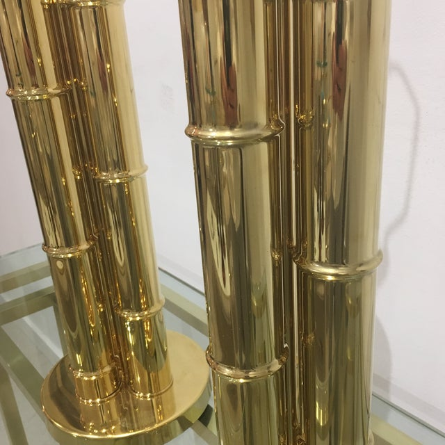 1960s Italian Brass Faux Bamboo Lamps - a Pair For Sale - Image 4 of 11
