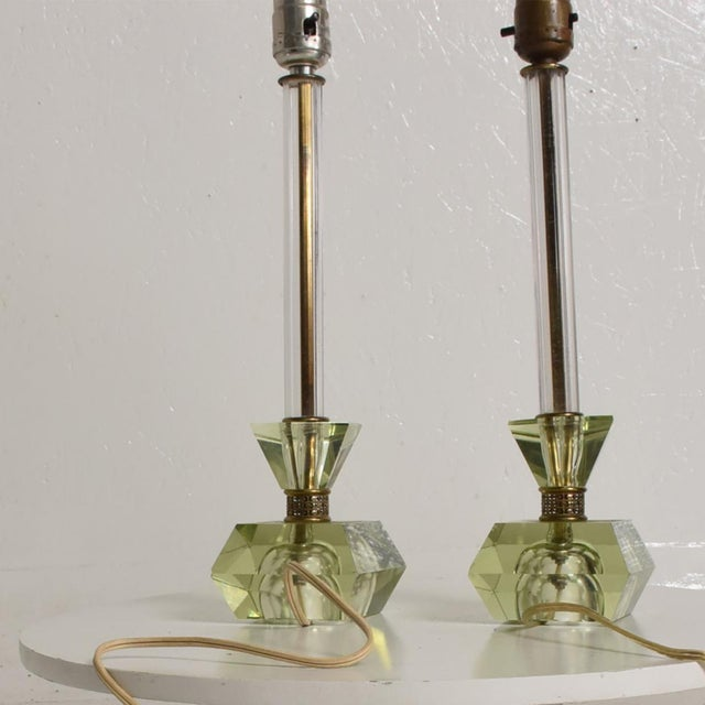 Hollywood Regency Era Crystal Table Lamps With Light Green Color Set of 2 For Sale - Image 10 of 11
