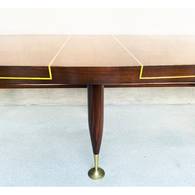 1960s Mid-Century 1960s Mahogany Dining Table & Chairs by Arturo Pani With Brass Inlay For Sale - Image 5 of 12