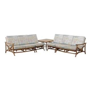 Vintage Mid Century Ficks Reed 5 Pc. Rattan Tiki Set Bamboo Sofa Table Pair Chairs