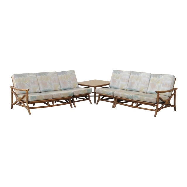 Vintage Mid Century Ficks Reed 5 Pc. Rattan Tiki Set Bamboo Sofa Table Pair Chairs - Image 1 of 11