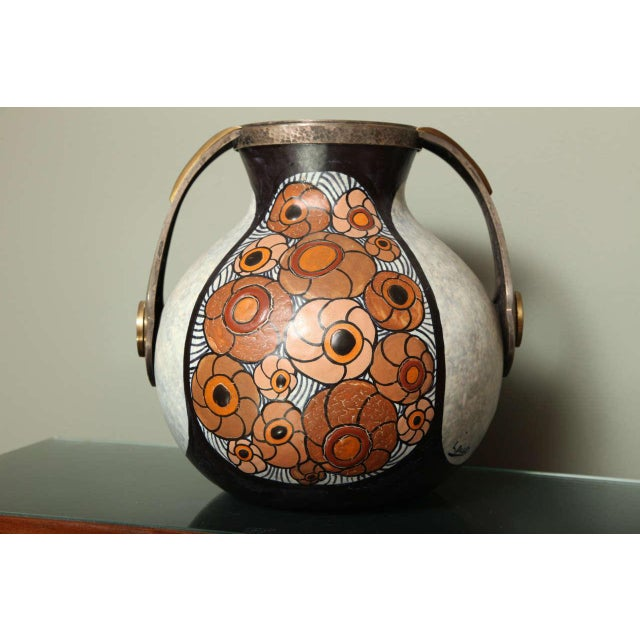 White Art Deco Pottery Amphora Vase by Louis Dage For Sale - Image 8 of 10
