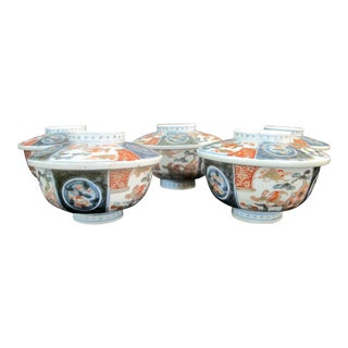 Antique Japanese Imari Bird Design Soup Bowl With Lids - Set of 5 For Sale