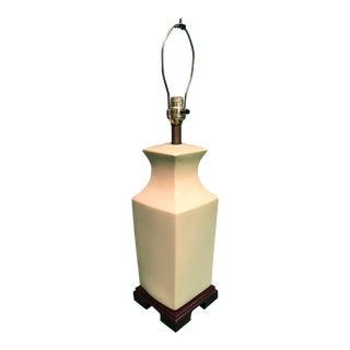 Mid-Century Asian Style Pale Yellow Box Lamp