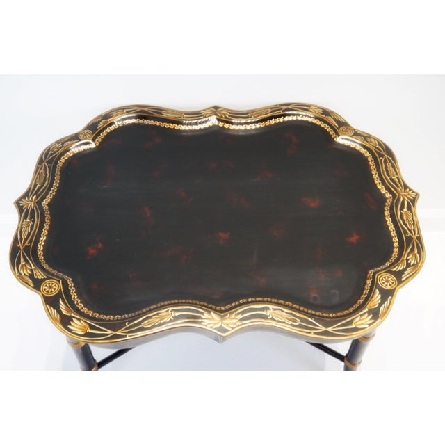 Vintage Mid-Century Regency Style Papier Mache Tray Table For Sale - Image 10 of 11