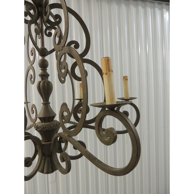 Country Large Traditional Forged Iron Hanging Chandelier From Curry & Co For Sale - Image 3 of 12