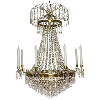 Empire 8 Polished Brass Drop Chandelier For Sale