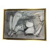 Image of Lucia Lopez Cubist Painting in Blule and White For Sale