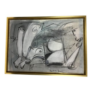 Lucia Lopez Cubist Painting in Blule and White For Sale