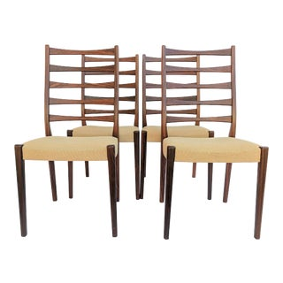 1960s Danish Modern Svegards Markaryd Rosewood Ladder Back Dining Chairs - Set of 4 For Sale