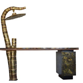 Sculptured Brass Studio Table/Writing Desk For Sale