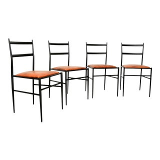 Mid-Century Modern Gio Pontileggera Leather Italian Chairs - Set of 4 For Sale
