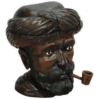 "Late 19th Century Venetian Carved Wood ""Turk"" Humidor"