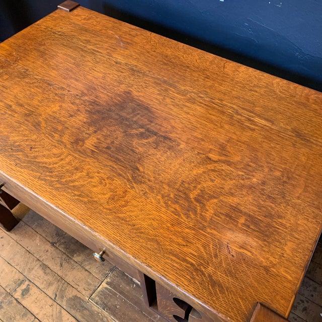 1930s 1930s Wood Craftsman Desk For Sale - Image 5 of 9
