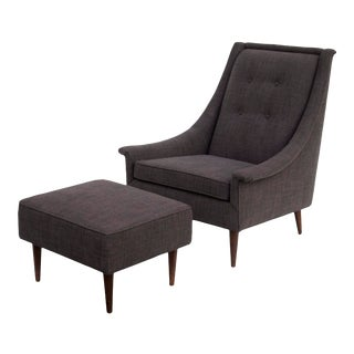 Tufted Midcentury Armchair With Matching Ottoman - a Pair For Sale