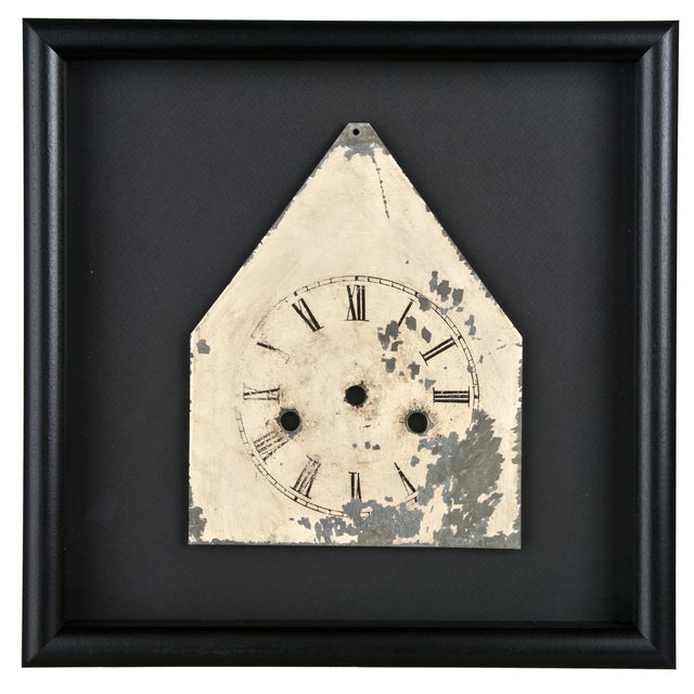 Framed Antique Galvanized Metal Clock Face - Image 1 of 2