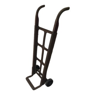 Vintage Industrial Steel Hand Cart With Wood Handles For Sale