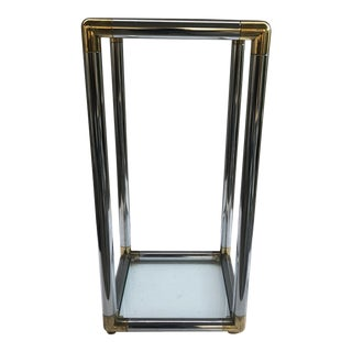 Chrome and Brass Corner Pedestal With Glass Shelves For Sale
