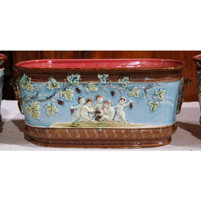 French 19th Century French Hand-Painted Barbotine Jardiniere & Cachepots - Set of 3 For Sale - Image 3 of 8