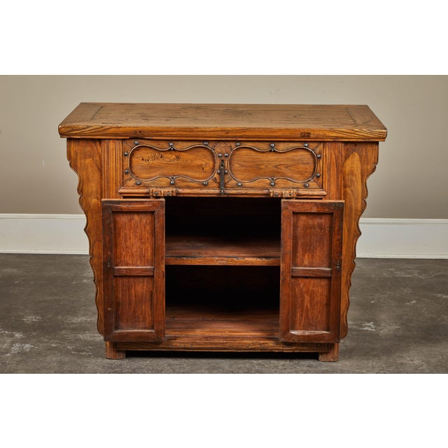Wood 19th C. Chinese Elm Altar Cabinet For Sale - Image 7 of 11