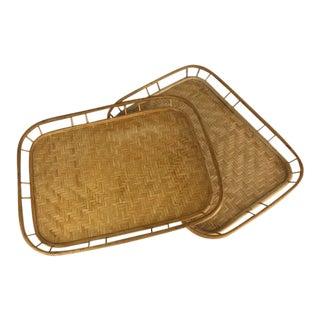 1970s Boho Chic Bamboo Rattan Trays - Set of 2