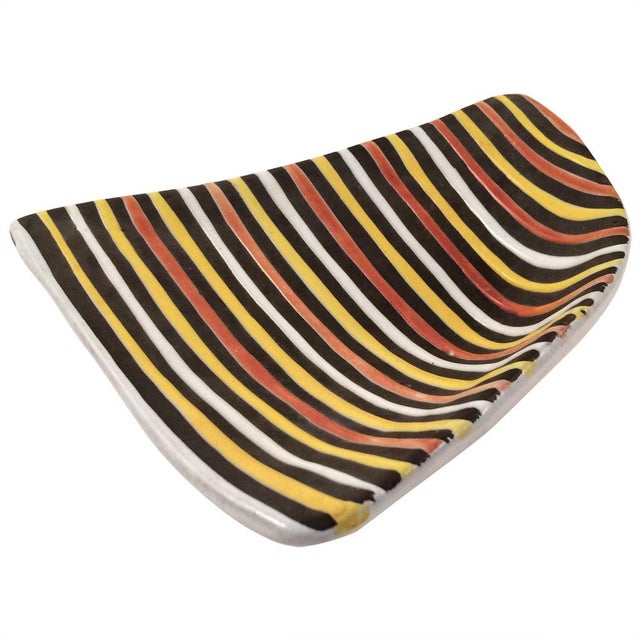 Vintage Italian Striped Ceramic Footed Dish - Image 6 of 7
