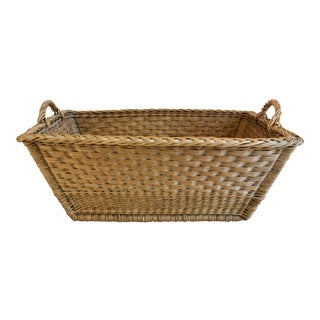 Early 1900s French Woven Wicker/Willow Market Basket