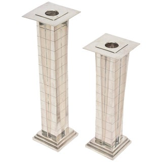 "Pair of Silver Plate Deco Style ""Skyscraper"" Candlesticks For Sale"