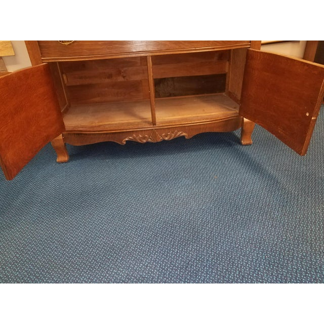 Chestnut Antique Oak Sideboard Buffet With Mirror For Sale - Image 8 of 13