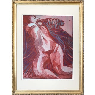 """Vintage Modernist Nude Etching """"Joseph Had a Dream"""" by Ruth Weisberg 1967 For Sale"""