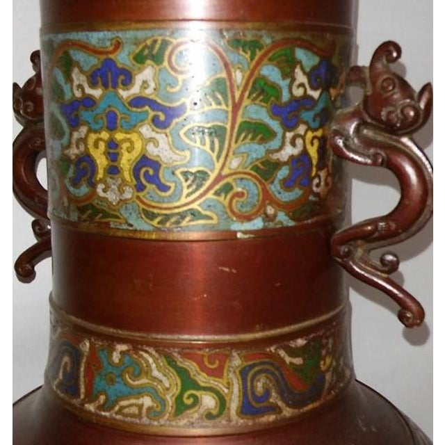 Champleve Enamel Vase With Dolphin Handles For Sale - Image 5 of 6