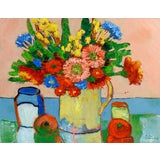 Image of Modernist Floral Still Life Painting For Sale