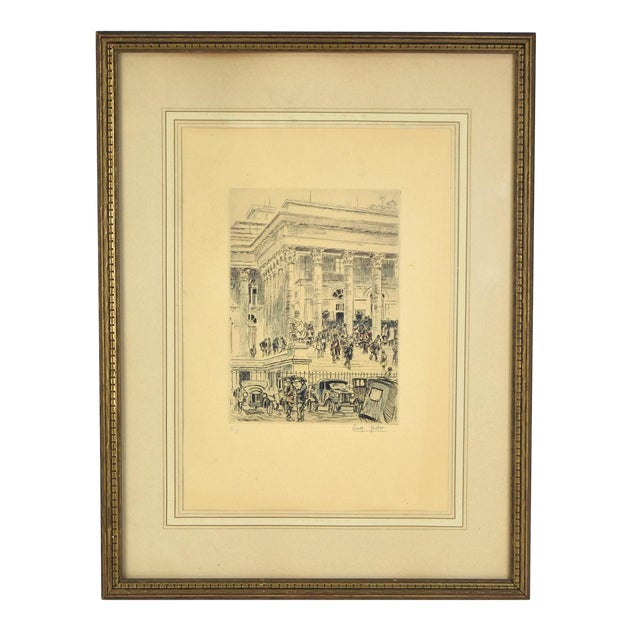 1920s Vintage Reporters Swarming Courthouse Awaiting Verdict Veder Hand-Colored Etching For Sale