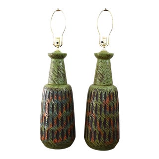 Gordon Martz for Marshall Studios Green Ceramic Table Lamps - A Pair For Sale