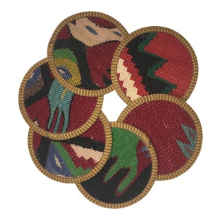 Rug & Relic Kilim Coasters Set of 6 | Sanem For Sale